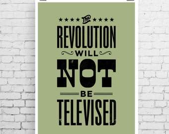 Gil Scott-Heron art print, song lyric art, music inspired print, typographic print, The Revolution Will Not Be Televised, song lyric print