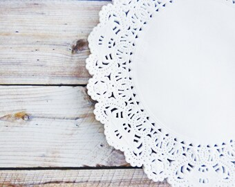 """White Paper Lace Doilies, set of 50 ~ 6"""" paper doilies, white doilies, white paper doilies, embellishments,scrapbooking and craft projects"""