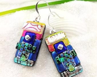 Dichroic glass earrings, fused glass jewelry, glass earrings, dichroic beads, rainbow earrings, creative jewelry, artisan earrings, fusion