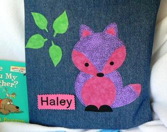 Fox Book Bag|Kids Personalized Book Bag|Toddler Pink Purple Bag|Children's Book Bag|Birthday Party Gift|Library Book Bag|Preschool Book Bag