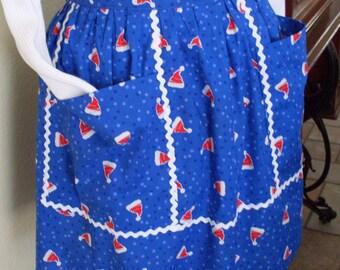 Christmas Apron in Royal Blue for Santa's Little Helper - Great for the Baker