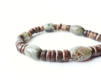 Men's wooden bracelet - made from green agate and eco-friendly coconut shell - Mossy Log