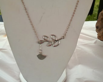 Bird and Leaf Necklace