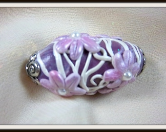 Floral Bead, Purple Handmade Polymer Clay, Oval, OOAK Bead, Supplies,Pearls