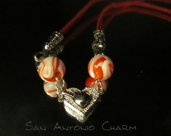 Fun Red and Hearts on a Leather Necklace