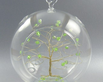 Christmas Ornament Peridot Green Swarovski Crystal Elements and Gold August Crystal Christmas Ornament