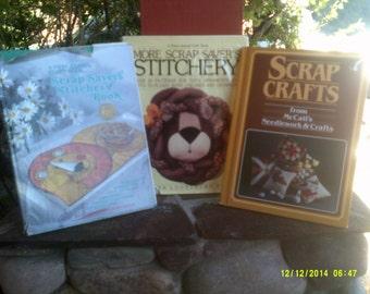 Three Vintage Scrap Stitchery Books, Scrap Crafts, Scrap Savers Stitchery, More Scrap Savers Stitchery, Sewing Craft Books, Scrap Sewing