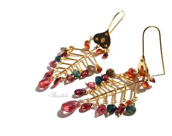18k Gold Pink Tourmaline Gipsy Earrings by Theodele