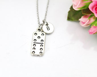 Domino Necklace, Domino Tile Charm, Poker Charm, Domino Playing Club Gift, Domino Game Charm, Mother's Day Gift, Personalized Gift,  N142