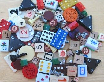 Variety Game Pieces - 20 Mixed Metal, Plastic and Paper for Assemblage, Mixed Media and MORE PSS 1619