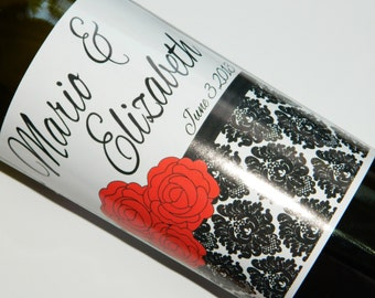 Set of 20 - PERSONALIZED WINE LABEL - Roses and Damask Elegance - For Weddings, Anniversaries, Or Any Special Occasion