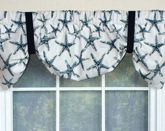 Starfish suspender valance in navy, yellow or taupe