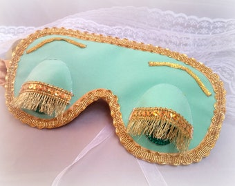 Breakfast at Tiffany's party favor, Holly Golightly sleep mask, Audrey Hepburn night mint mask, Birthday gift for her, Tifanys pj mask party