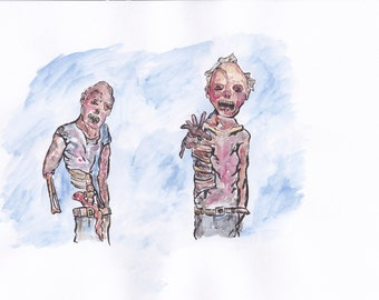 Zombie Painting - Digital Download - Watercolor Painting