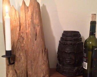 Cedar Driftwood Candle Holder - Mountain