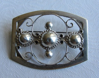Mexican Sterling Silver Design Pin/Brooch 7.27g