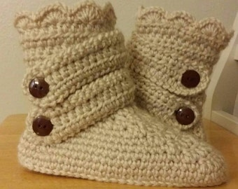Crochet slipper boots.  House slippers.  Indoor boots