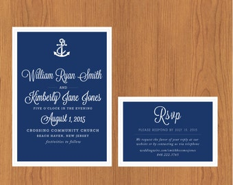 Simple & Nautical  // Printable, DIY Wedding, Wedding Invitation, Custom Invitation