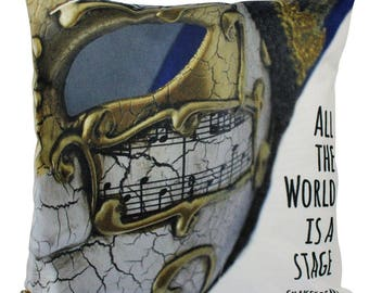 All the World's a Stage | Pillow Cover | Shakespeare Quotes | Theater Room Decor | Throw Pillow | Home Decor | Pillow | Phantom Mask | Gift