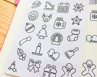 Christmas Stickers for Planner and / or Bullet Journal.