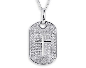 925 Sterling Silver Cross CZ Dog Tag Pendant Necklace