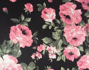 Pink Rose Floral Double Brushed Poly Knit