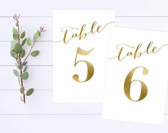 Instant Download, Wedding Table Number, 1-30, 4x6, Wedding Printable, Table Numbers, Gold Table Numbers, Calligraphy, Wedding Signs, Gold