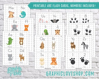 Printable ABC Animal Flash Cards, Set of 26 English Letters & 10 Numbers | Preschool, Learning | PDF file, Instant Download, Print at Home