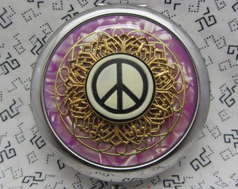 Compact Mirror Peace Sign Compact Mirror Purple Compact Mirror Hippy Mirror Far Out Mirror Groovy Mirror Comes With Protective Pouch