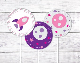 """Rocket Girl 2"""" Cupcake Toppers (Pink/Purple Space Party Cupcake Toppers)"""