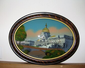 Antique WASHINGTON DC US Capitol Reverse Glass Painting, circa 1900-1916, Faux Grain Painted Antique Frame