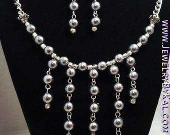 Gray and Silver Earrings and Necklace Statement Set