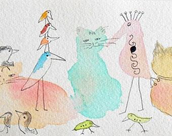 Cats and Birds Original Watercolor