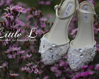 Wedding Shoes - White Lace Rhinestone Pearl with Engraving You Name in Sole Customs