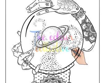 Fantasy Coloring page,digital stamp, printable download