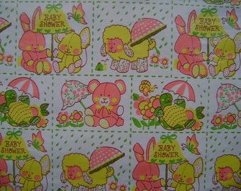 Vintage Baby Shower Gift Wrap 1970s  Wrapping Paper for Baby Shower --2 sheets NIP--Baby Turtles too