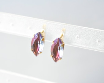 Earrings navette marquise vintage glass pink and blue two tone glass stone vintage