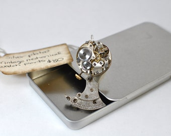 Steampunk Inspired Silver Plate Vintage Watch Movement Pendant 00215