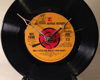 """Recycled NEIL YOUNG 7"""" Record • Only Love Can Break Your Heart • Record Clock"""