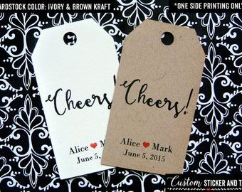 40 cheers tags, personalized tags, party favor, MINI luggage tag, wedding favor, custom wedding tag, wine tag, custom printed tag (T-34)