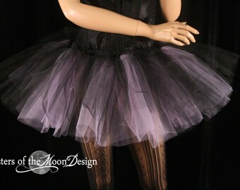 two tone tutu adult skirt dance black lavender extra poofy petticoat roller derby rave run costume -You Choose Size -- Sisters of the Moon