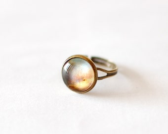 Galaxy Ring with Omega Nebula. Glass Dome Ring. Space Ring. Universe Ring. Astronomy Jewelry. Galaxy Jewelry.