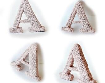 Letter A Crochet Pattern, 3D Alphabet crochet pattern, 3d words pattern, 3d letters pattern, words home deco, decorative letters crochet