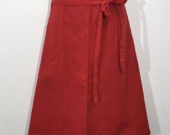 Vintage Ecco Bay Red Wrap Around Skirt With Pockets Size L