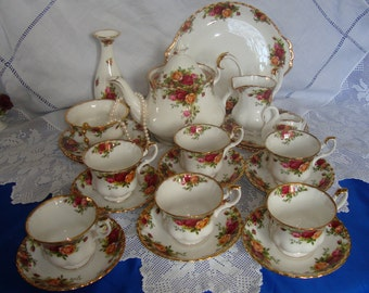 Royal Albert Old Country Roses Tea Set Exquisite A Must for Memorable Afternoon Tea Party
