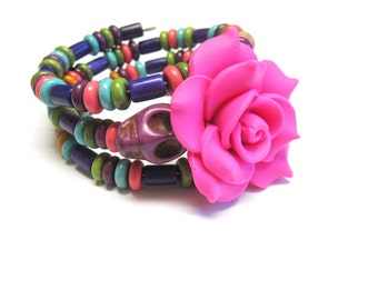 Day Of The Dead Bracelet Sugar Skull Jewelry Cuff Wrap Pink Blue Green White Purple Rose