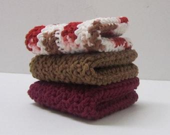 Cotton Washcloths Dishcloths Cleaning Cloths 3 Set