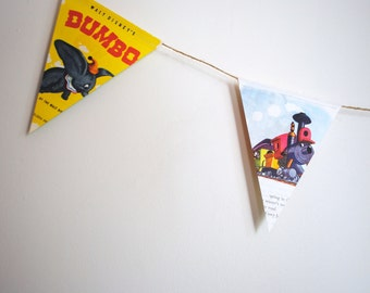 "Dumbo. Vintage ""LITTLE GOLDEN BOOK'  double sided bunting / banner."