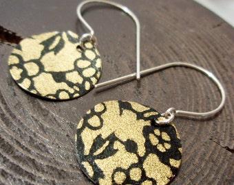 Gold and Black Brocade Origami Mini Earrings
