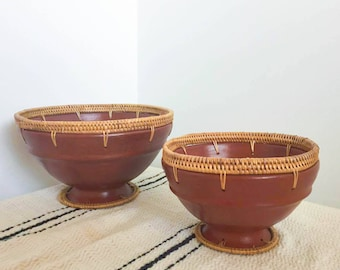 Vintage Indonesian Terracotta Woven Rattan Bowl